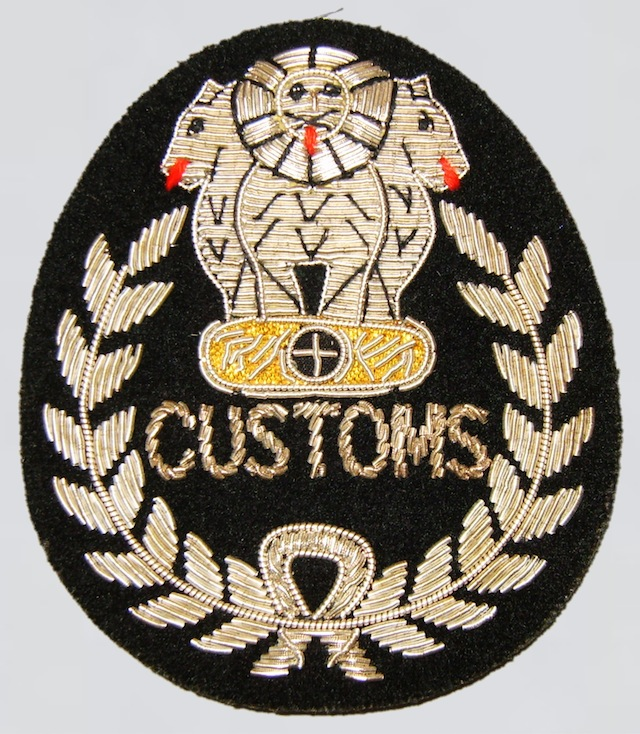 IN_001_India_Customs_Hat_Patch_hand_embroidered